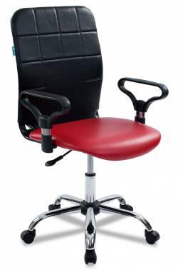 Кресло Бюрократ CH-596/NE-13 спинка черный сиденье красный NE-13 искусственная кожа крестовина хром