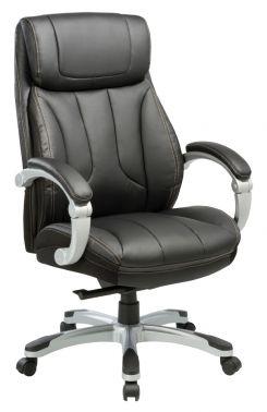 Кресло руководителя Бюрократ T-9921/BLACK черный кожа/кожзам (пластик серебро)