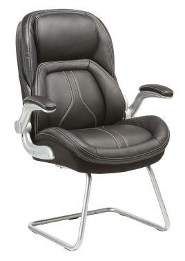 Кресло Бюрократ T-9919A-LOW-V/BLACK низкая спинка черный рец.кожа/кожзам