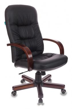 Кресло руководителя Бюрократ T-9908/WALNUT черный кожа крестовина металл